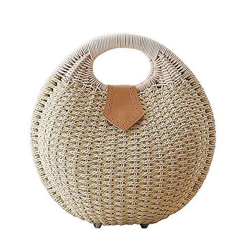 Beige Handtaschen Stroh (JBAG-one Frauen Shell Form Stroh Tote Handtasche Rattan Strandtasche,Beige)
