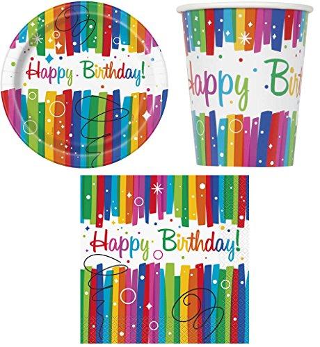 32-teiliges Party Set Regenbogen Kindergeburtstag Geburtstag Party Fete Feier 8 Teller, 8 Becher, 16 Servietten