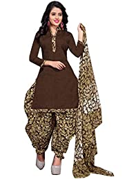 Rajnandini Women's Cotton Printed Dress Material(JOPLVSM3844_Brown_Free Size)