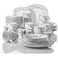 Veweet SERENA 40pcs Service de Table Pocelaine 8pcs pour Assiettes Plates/Assiette à Dessert/Bols à Céréales / 360ml Mug/Coquetier, Vaisselles Céramique 8 Personnes Cadeau Fête Mariage