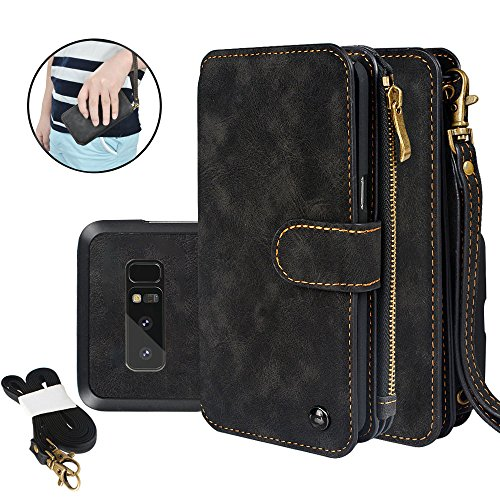 Samsung Galaxy Note 8 Wallet Case Sock Holsters Detachable Case Premium PU Leather Zipper Cellphone Purse Card Slots Stand Wrist Shoulder Strap Multi-functional Cover