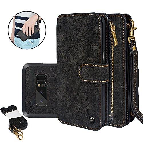 CORNMI iPhone 7 Hülle, iPhone 8 Multifunktionale Lederhandtasche Zipper Pocket Flip Leder Wallet Case mit 14 Crad Slot und Handschlaufe für iPhone 7 iPhone 8
