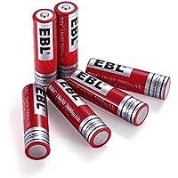 EBL 3.7V 18650 3000mAh Lithium-Ion Rechargeable Batteries, 6 Packs Li-ion 18650 Batteries