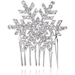 EVER FAITH® österreichischen Kristall Winter Schneeflocke Haarkamm Haarschmuck Clip - Silber-Ton