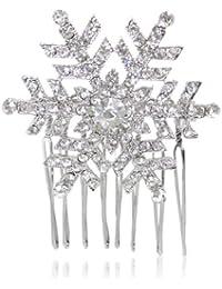 EVER FAITH® - Cristal Invierno Copo De Nieve Peine De Pelo ClipTono plateado B00030-1