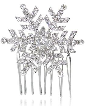 Ever Faith österreichischen Kristall elegant Winter Schneeflocke Blume Haarkamm Haarschmuck klar