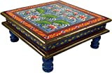 Guru-Shop Bemalter Kleiner Tisch, Minitisch, Blumenbank - Seerose Blau/rot, 16x38x38 cm, Kaffeetische & Bodentische