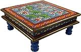 Guru-Shop Tavolino Dipinto, Mini Tavolo, Panca da Fiori - Ninfea Blu/rosso, 16x38x38 cm, Tavoli Tavolini di Base