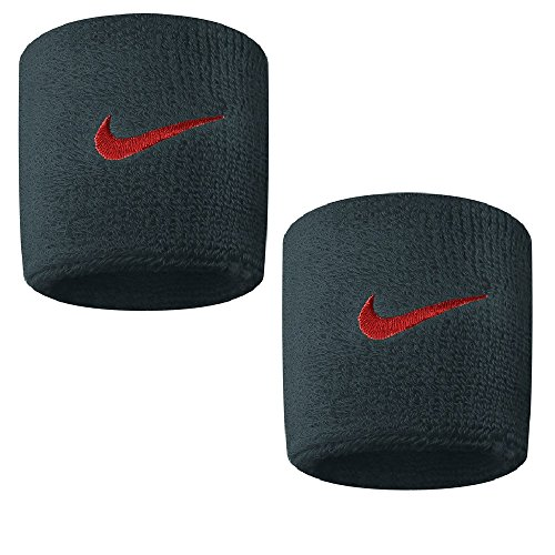 Coppia di Polsini da Tennis NIKE Swoosh Wristbands Wimbledon Indian Wells Roland Garros (Anthracite - Bright Crimson)