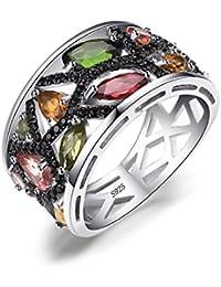 JewelryPalace Mujer 2.3ct multicolor genuino Turmalina Negro Spinel Cóctel de Anillo de Plata de Ley 925