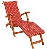 KMH Deckchair aus Eukalyptusholz (mit Auflage Terracotta)