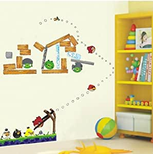 Angry birds reusable 3rd generation removable art decal for Angry bird wall mural