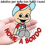 STICKEREDO Bimbo a bordo adesivo auto personalizzato con nome bimbo o bimba. Baby on board. bebè a bordo. Applicazione esterna