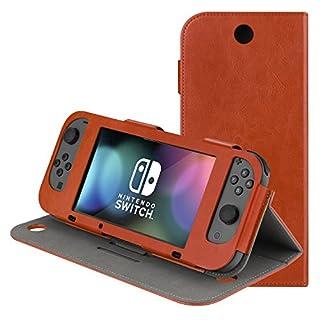 AK Tasche kompatibel mit Nintendo Switch, Dünner Schützender PU-Leder Spiel-Rack-Abdeckung Umdrehen für Nintendo Switch 2017 (Braun-Ständer)