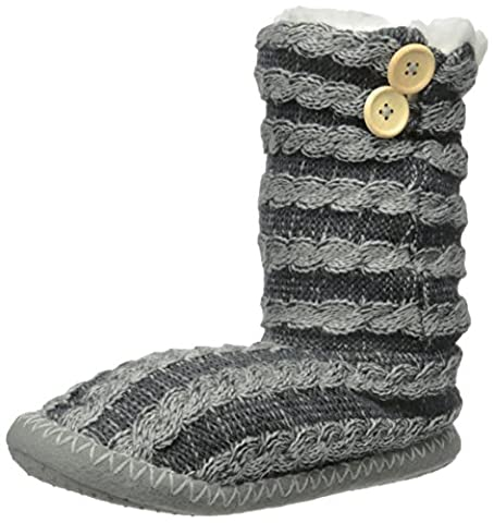 Womens Cable Knit Button Accent Indoor Boot Slippers - Black/Grey - M