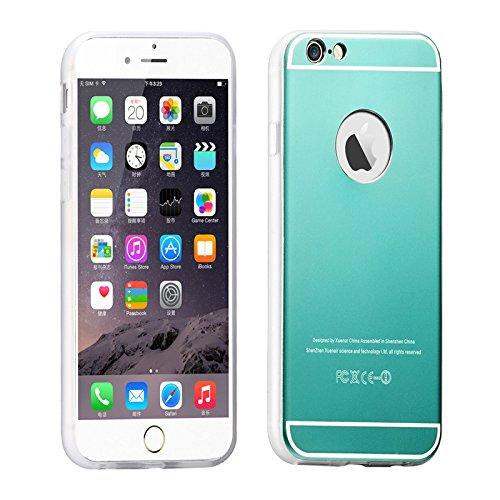 Oceanhome NEW Luxury Aluminum Ultra dünne Spiegel Metallkasten Abdeckung Aluminiummetallgehäusebeschichtung Auto Frame für Apple iPhone 6 6s Hülle Telefon Beutel mit Rot +1 HD Schutz schirm Series4-Mint Green