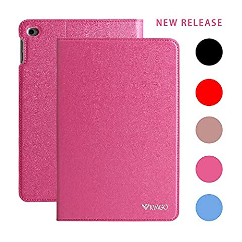 Folio Case for iPad mini 4, KVAGO Ultra Slim Magnetic Smart Cover with Stand Feature Auto Sleep Wake Fashion Luxury Elegant Synthetic Leather Protective Sleeve Folding Flip Cover for Apple iPad mini 4 2015 Edition (Rose Red)