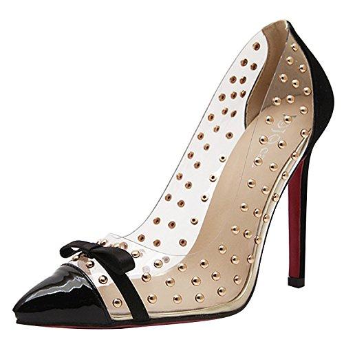 Minetom donna elegante punta con tacco alto scarpe Rivet Decorazione Stilettos Black UK 5,5