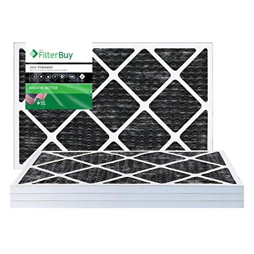 FilterBuy Allergen-Geruchsneutralisierer, 14 x 25 x 1 MERV 8, faltbarer AC Ofen-Luftfilter mit Aktivkohle, 4 Stück, 14 x 25 x 1