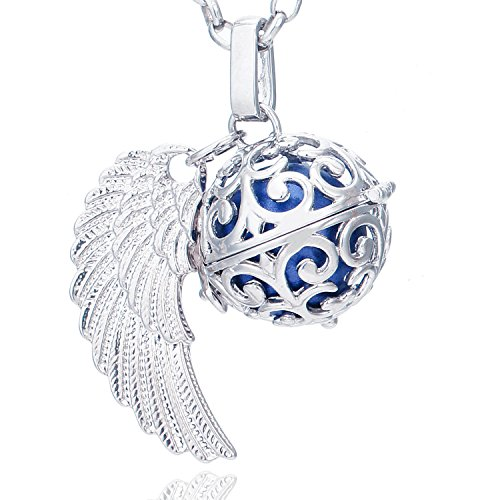Morella Damen Schutzengel Halskette Edelstahl 70 cm mit Anhänger Engelsflügel und Klangkugel blau Ø 16 mm in Schmuckbeutel