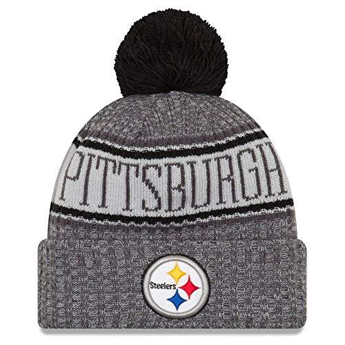 New Era Pittsburgh Steelers Beanie NFL 2018 Sideline Sport Graphite Knit Black/Grey - One-Size