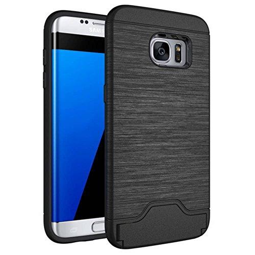Galaxy S7 edge Custodia , ivencase Nero Durevole [Shockproof] [Extra Grip] Ibrido Case con [Card Slot & Holder] Stand Protettiva Cover Perfetta per Galaxy S7 edge G935 G935F