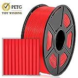 Filamento PETG 1.75 mm, 1 kg, devanado ordenado actualizado, sin enredos, Rojo
