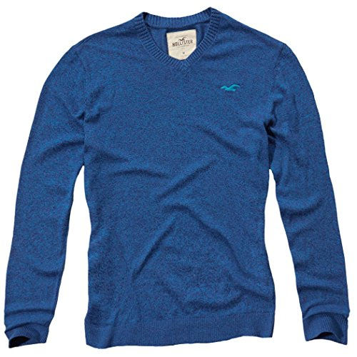 hollister-homme-v-neck-icon-sweater-pull-sweatshirt-longue-taille-medium-bleu-624370501