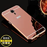 DressMyPhone Branded Luxury Metal Bumper With Acrylic Mirror Back Case Cover For LeTV Le 1s - Rose Gold