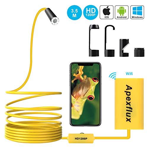 Apexflux WiFi Endoskop Kamera, Wireless USB Endoskop Inspektionskamera, Einstellbare 8mm Objektiv 1200p Semi-Starr Endoskop Endoskop für Android, iPhone, Samsung, Tisch (Gelb, 3.5m)