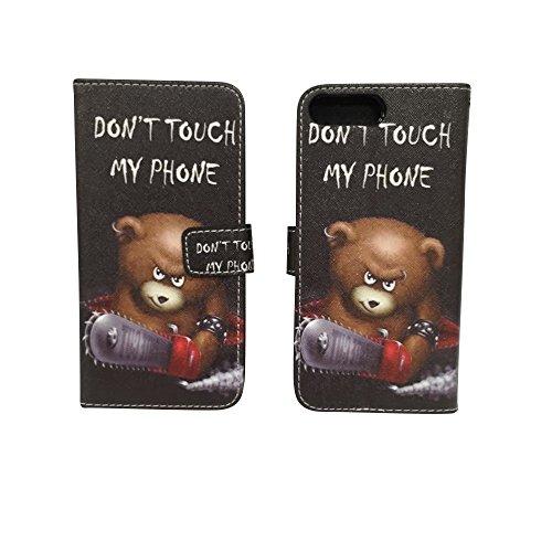 König-Shop - Handyhülle Schutz Tasche Case Cover Wallet Kunstleder 360 Grad Standfunktion, Farbe:Onyx Schwarz, Größe:Apple iPhone 8 Plus Don't touch my Phone Bär