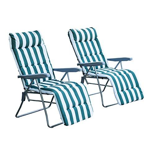 Outsunny 2 x Klappstühle Gartenstuhl Sonnenliege Armlehne klappbar 5 Positionen Auflage, grün, 58x90x110 cm, 01-0710