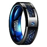 Nuncad Ring Wolfram Unisex Ring Keltisch Schwarz-Blau 8mm Breit, Ring Fashion für Hochzeit, Trauung, Verlobung und Partnerschaft, Größe 65 (25)