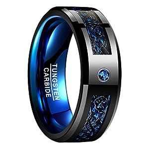 Nuncad Ring Herren/Damen Keltisch Schwarz-Blau mit Kohlefasern, Zirkon, Unisex Wolfram Ring 8mm Breit für Hochzeit, Verlobung, Partnerschaft, Größe 54 bis 67 (14-27)