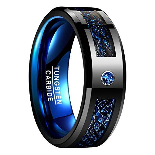 Nuncad Ring Wolfram Damen/Herren 8mm breit, Ring Keltisch schwarz-blau mit Kohlefasern, Ring für Ehe, Trauung und Partnerschaft, Größe 59 (19)