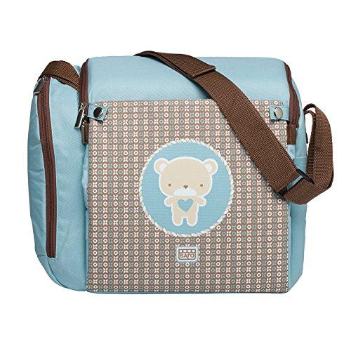 SARO – Wickeltasche, die sich in eine Stuhl-Sitzerhöhung für Babys umfunktionieren lässt. Mit praktischer Isoliertasche für Babyflaschen. Spanisches Design. In 4 lustigen Modellen erhältlich (grün)