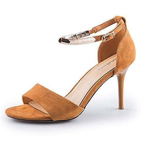 Chaussures de flanelle d'été/un mot avec des chaussures de rivet/escarpins talons dames-B Longueur du pied=21.8CM(8.6Inch)