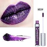 Cocohot Lipstick Matte Glitter Metallic Liquid Lip Rouge Moisture Shiny Lip Gloss (Dunkelviolett)
