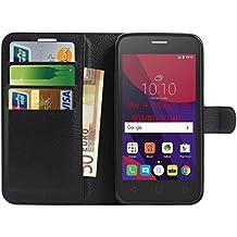 Alcatel Pixi 4 5 inch 3G 5010D Hülle , Anzhao PU Ledertasche Brieftasche Schutzhülle für Alcatel Pixi 4 5 inch 3G 5010D Hülle (Schwarz)