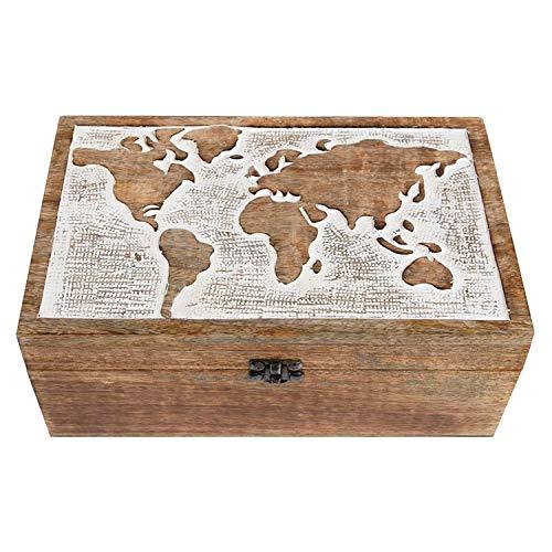 Große XXL Fotobox Mango-Holzbox mit Welt-Ornament Schatulle Bilder-Box Schmuck-Box von Haus der Herzen®