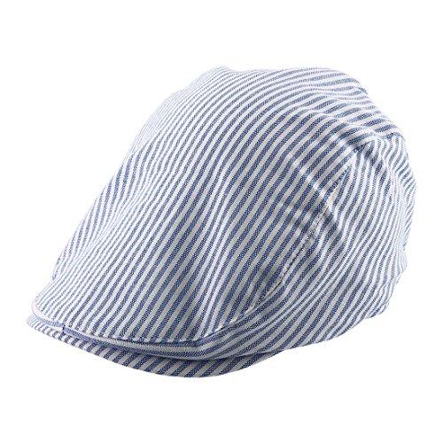 sourcing map Streifenmuster Zeitungsjunge Entenschnabel Ivy Kappe Fahren Flachen Barett Hut schwarz weiß DE