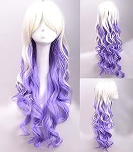 longs boucl¨¦s chaleur cosplay perruque de mode r¨¦sistant blanc-violet