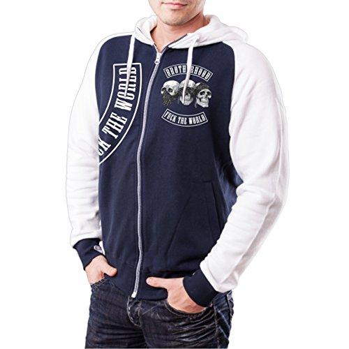 Uomini e uomo giacca con cappuccio Trust No One-Fiducia Nessuno (bicolore con pressione sulla schiena) blu scuro / bianco XXXXL