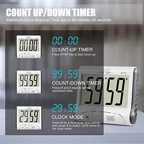 b896c31603c372 KOATECH Timer Digitale da Cucina Magnetico Timer da Cucina 24 Ore Conto  alla rovescia Timer elettronico e cronometro Allarme con Grande Display LCD