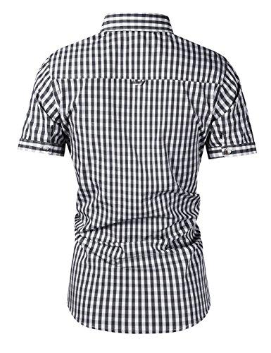 KoJooin Trachten Herren Hemd Trachtenhemd Langarmhemd Freizeithemd Baumwolle - für Oktoberfest, Business, Freizeit (XL, Schwarz1) - 3
