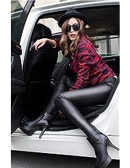 &zhou Además de terciopelo engrosamiento mujer invierno cálido polainas gruesas pantalones apretados de cuero pantalones de moda , black , 175/xl