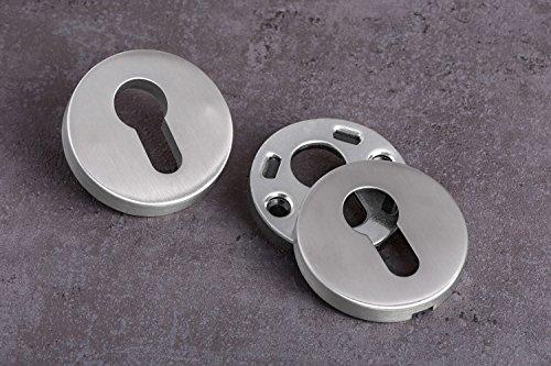 GedoTec® Sicherheitsrosette Schutz-Rosette V2A Edelstahl matt gebürstet | PZ - Profilzylinder | Türrosette für Türstärke 40 mm bis 70 mm | Schutzrosetten-Paar rund für Haustüren & Wohnungseingangstüren | Markenqualität für Ihren Wohnbereich - 3