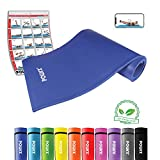 POWRX Gymnastikmatte Trainingsmatte Pilatesmatte Phthalatfrei 190 X 60 X 1.5 cm oder 190 x 100 x 1.5 cm in Verschiedenen Farben (Dunkelblau, 190 x 100 x 1.5 cm)