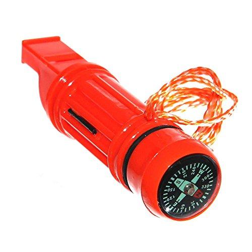 1 Signalpfeife mit Kompass Feuerstein Spiegel Kordel & Behälter orange Survival whistle Camping Outdoor Pfeife überleben NEU Otto Harvest