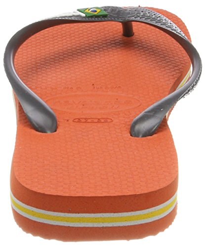 Havaianas Brasil Logo, Tongs Mixte Adulte Gris (Pumpkin/grey)